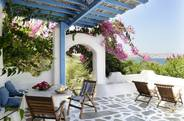 Blue and white private furnished verandas...