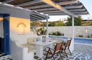 The furnished patio terrace of the villa with private pool...